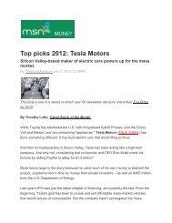 Top picks 2012: Tesla Motors - Technology Partners