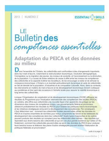Bulletin des compétences essentielles - Essential Skills Ontario
