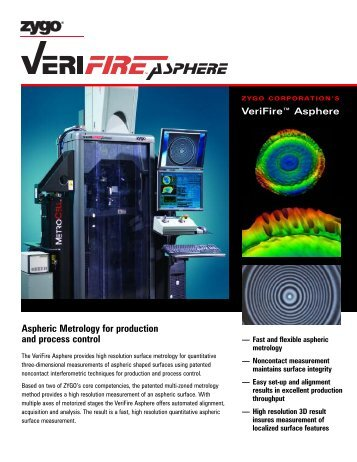 Verifire™ Asphere Brochure - Zygo Corporation