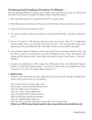 Dimensional Analysis Worksheet 151