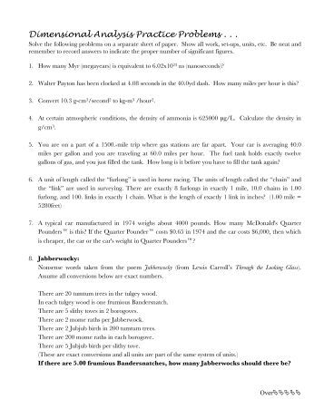 Dimensional analysis worksheet chemistry 2
