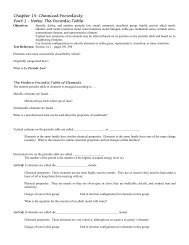 Chapter 14 Notes - Honors Chemistry Coursework