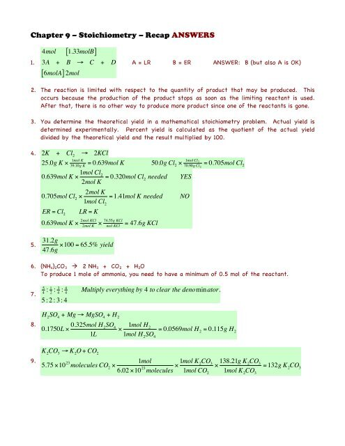 Chapter 9 - Recap Plus ANSWERS - Honors Chemistry Coursework