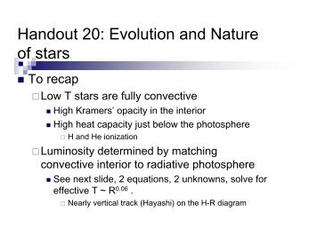 Handout 20: Evolution and Nature of stars - Astro Pas Rochester