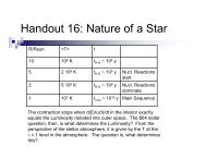 Handout 16: Nature of a Star - Astro Pas Rochester