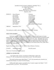 1 ADAMS COUNTY PUBLIC HOSPITAL DISTRICT NO. 2 East ...