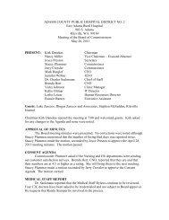ADAMS COUNTY PUBLIC HOSPITAL DISTRICT NO. 2 East Adams ...
