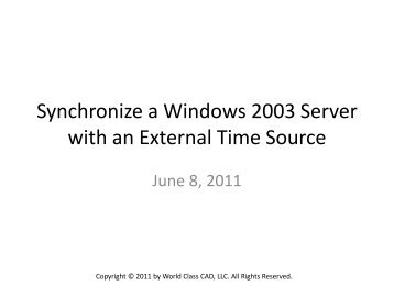 Synchronize A Windows Nt Network With Netclock