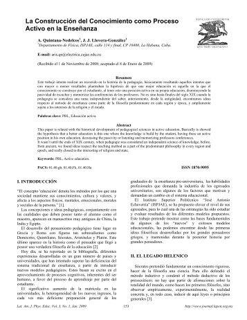 La Construcción del Conocimiento como Proceso Activo en la ...