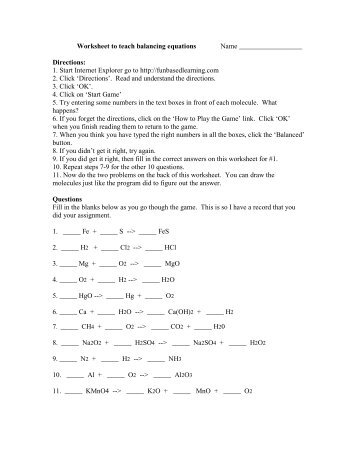 Worksheet To Teach Balancing Equations Name Directions: 1. Start .