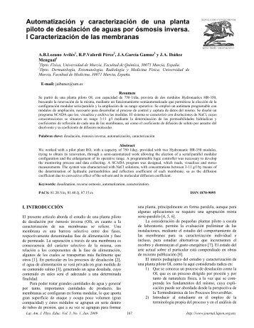 Automatización y caracterización de una planta piloto de desalación ...