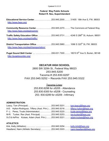 Decatur Contact - School Web Sites - Federal Way Public Schools