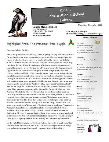 Page 1 Lakota Middle School Falcons - Federal Way Public Schools
