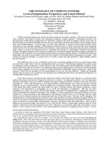Wimsatt - The ontology of complex systems