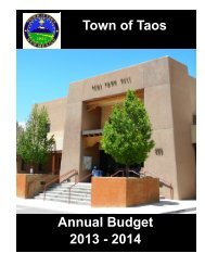 Budget 2013-2014 - The Town Of Taos