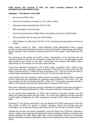 microsoft word 0003 press release for q3 results icon plc