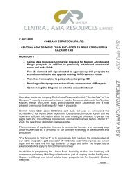 company strategy update: central asia to move from explorer to gold ...