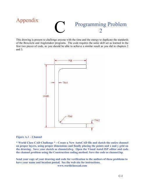Appendix C Programming Problem 2 - World Class CAD Home