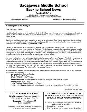 August 2012 Newsletter - Federal Way Public Schools