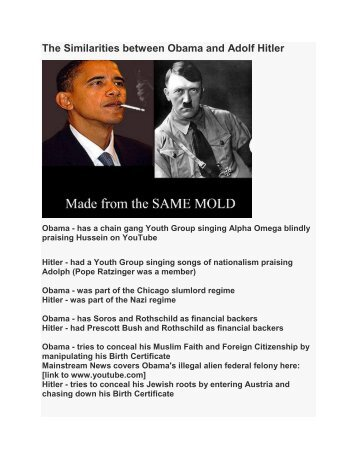 The Similarities between Obama and Adolf Hitler
