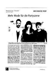 Mehr Mode für die Partyszene - Fashion Net Düsseldorf