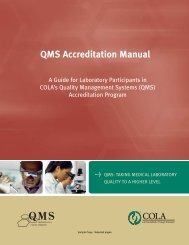 QMS Accreditation Manual - COLA