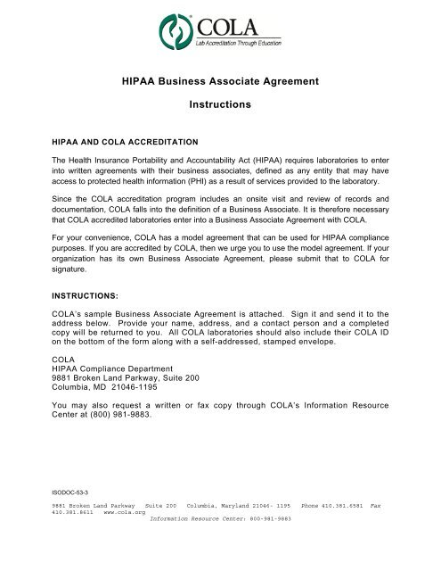 Hipaa Business Associate Agreement Instructions Cola