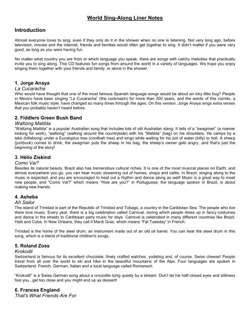 World Sing-Along Liner Notes Introduction - Putumayo Press Room