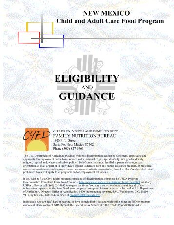 Center Sponsor Guidance & Eligibility (PDF) - New Mexico Kids