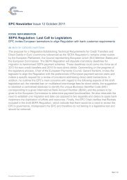 EPC Newsletter Issue 12 October 2011 SEPA Regulation: Last Call ...