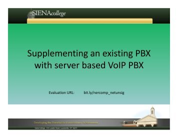 2. Supplementing an existing PBX - NERCOMP
