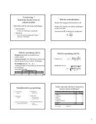 Forelesning 7 Statistiske beskrivelser av enkeltvariabler MÃ¥l for ...