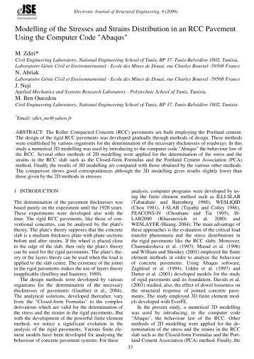 Modelling of the Stresses and Strains Distribution in an RCC ...