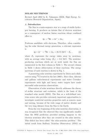 Solar Neutrinos - Particle Data Group