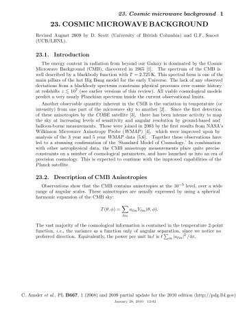 23. COSMIC MICROWAVE BACKGROUND - Particle Data Group