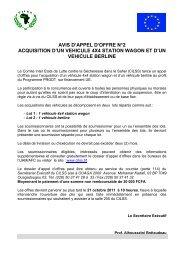 Appel d'offres PRGDT - CILSS
