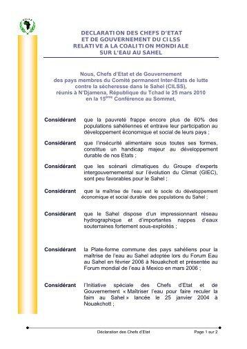 Déclaration des Chefs d'État relative à la Coalition mondiale ... - CILSS