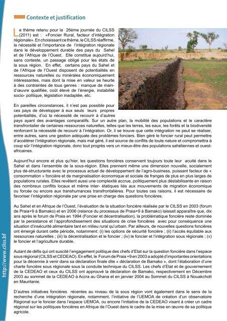 «Le foncier rural, facteur d'intégration régionale» 2011 - CILSS