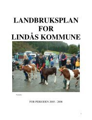 LANDBRUKSPLAN FOR LINDÅS KOMMUNE