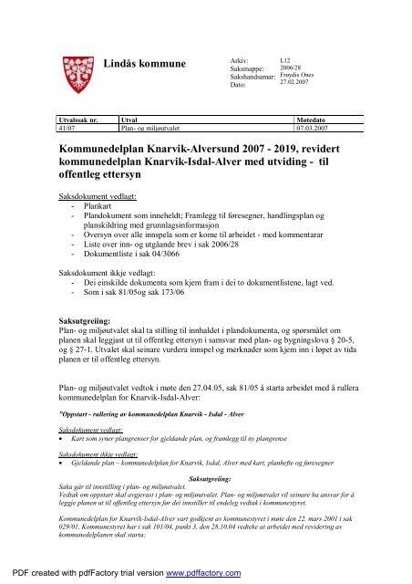 Kommunedelplan Knarvik Alversund 2007 2019 Revidert