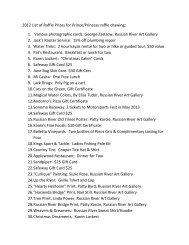 2012 List of Raffle Prizes for Prince/Princess raffle drawing: 1 ...