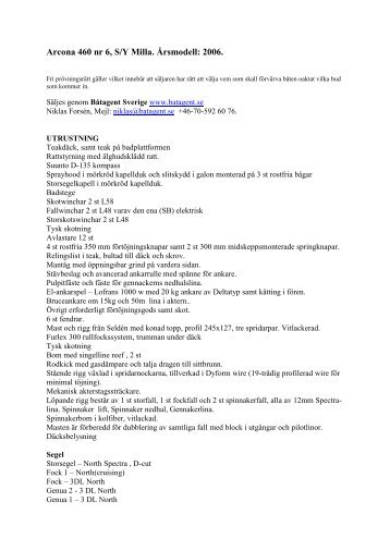 Utrustning sajt Arcona 460 Milla - BÃ¥tagent Sverige