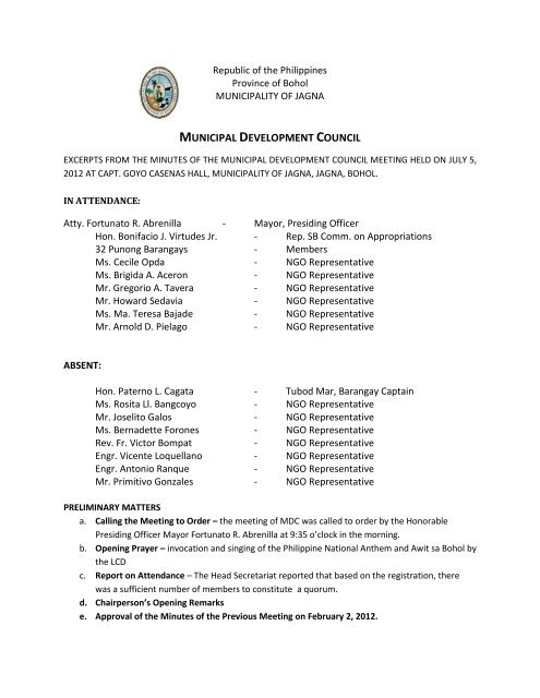 Minutes of MDC Meeting – July 5, 2012 - Jagna