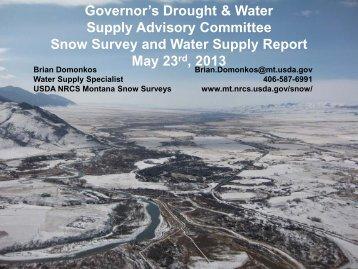 USDA Snow Survey Water Supply - Montana Drought Information