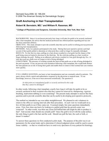 Graft Anchoring in Hair Transplantation - The New Hair Institute