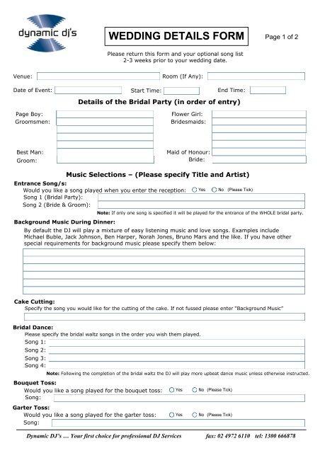 Visio Wedding Details Form Vsd Dynamic Djs