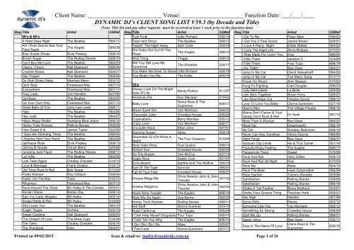 Audio Song List Dynamic Djs