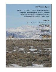 2005 Annual Report SUBLETTE MULE DEER STUDY ... - WEST, Inc.