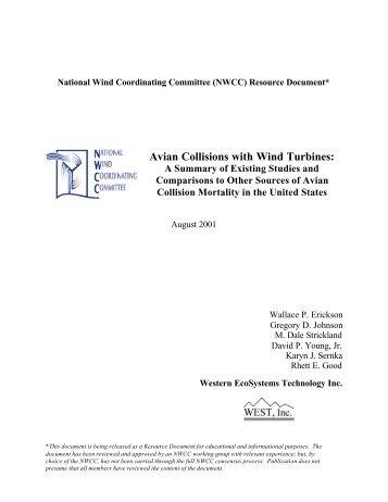 Avian Collisions with Wind Turbines: A Summary of - WEST, Inc.