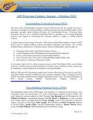 AfP Program Update: August – October 2012 - Alliance for ...